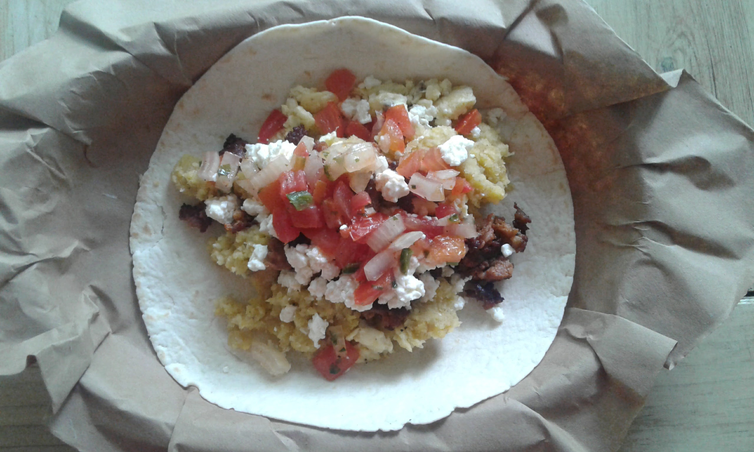 Platano Mofong Hash, Egg and Cheese Taco with Spicy Chorizo and Pico de Gallo