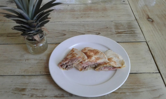 El Cubano Grilled Taco with Pulled Pork, Deli Sliced Ham, Monterey Jack Cheese, Dill Pickles and Mustard