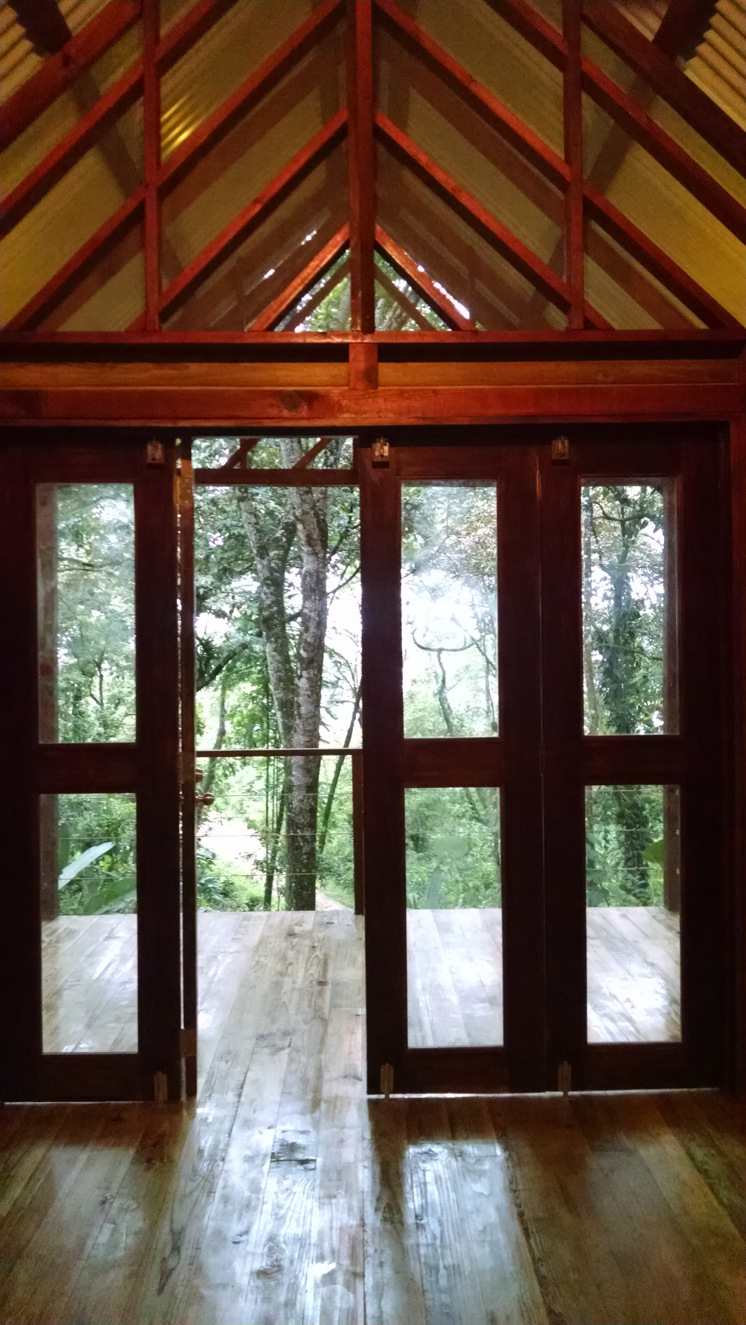 Photo looking out for! Interior of Tree Cabin